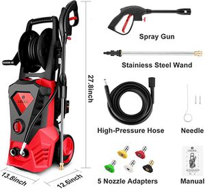 Electric Pressure Washer 3500PSI 2.6GPM Electric Power Washer Machine with Power Hose Gun, Hose Reel & 5 Interchangeable Nozzles (Red for Sale in Newcastle, WA