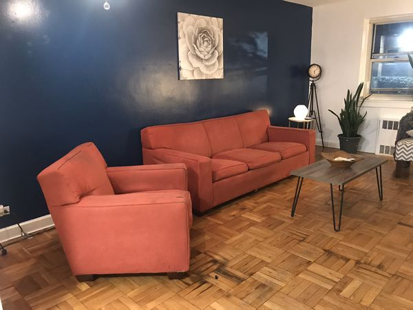 Red Suede Couch for sale