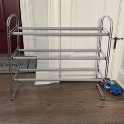 Shoe rack, 3 Tier, Expandable, Chrome for Sale in Woodbury,  NY