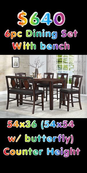 6pc Wood Brown or Grey Dining Table Set with Bench for Sale in Glendale, AZ