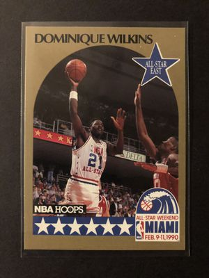 Dominique Wilkins 1990 NBA HOOPS Basketball Card. Dominique Wilkins Atlanta Hawks All-Star Basketball Trading Card. for Sale in Chicago, IL
