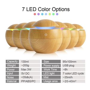 USB Aroma Essential Oil Diffuser Ultrasonic Cool Mist Humidifier Air Purifier 7 Color Change LED Night light for Office Home for Sale in Miami, FL