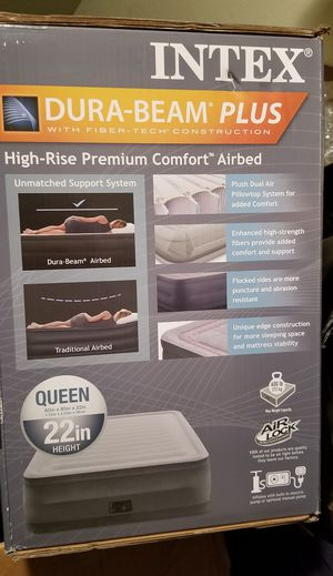 Queen Intex Air Mattress Bed Elevated 22 inches for Sale in Houston, TX