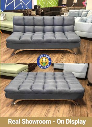 We Finance 😁 Visit Our Showroom - Blue Pillow Top Couch Sofa Futon Bed Sofa Bed for Sale in Los Angeles, CA