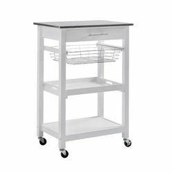 Sunjoy Rolling Kitchen Island Cart Modern with Storage Shelf and Stainless Steel Top for Sale in Santa Ana,  CA