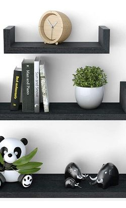 Floating Shelves Wall Mounted, Solid Wood Wall Shelves, Weathered Black for Sale in Mesquite,  TX