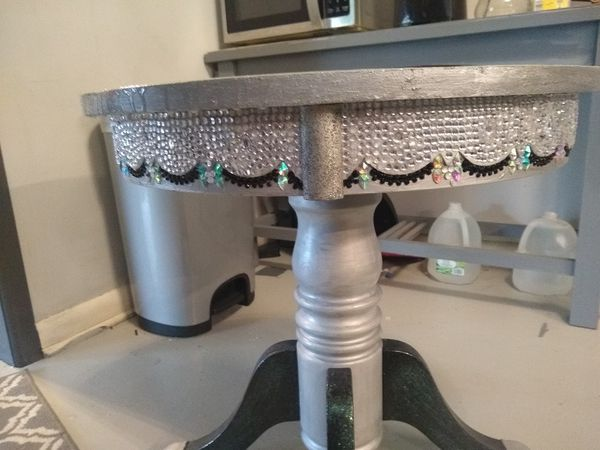 Hand Crafted table w/ silver, black, and torquoise design