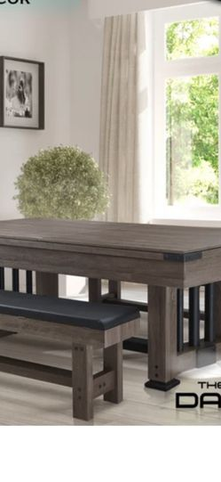 3 In 1 Game Pool Dinning Wood Table Steady W/ Top Cover 2 Benches for Sale in Ontario,  CA