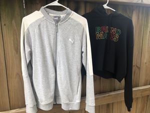 puma grey jacket and bruno mars black cropped hoodie for Sale in Houston, TX