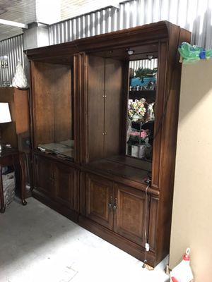 Display Cabinets. Solid Wood w Lights, Mirrored Back w Glass Shelves for Sale in West Palm Beach, FL