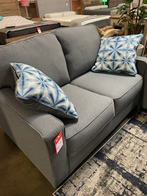 NEW IN THE BOX, CONTEMPORARY STYLE LOVESEAT, STEEL COLOR. for Sale in Huntington Beach, CA