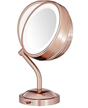 Conair Reflections Double-Sided LED Lighted Vanity Makeup Mirror, 1x/5x Magnification, Rose Gold for Sale in Garland, TX
