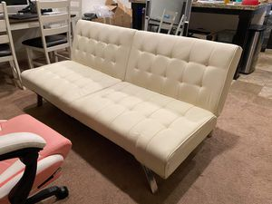 White Leather Futon for Sale in Glendale, CA