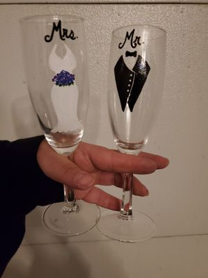 Hand painted toasting glasses for Sale in Warrenville, IL