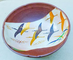 "Ryuho Japanese mid century modern purple art pottery 7x3"" bowl w/ migrating birds design for Sale in Saginaw, MI"