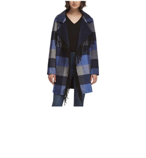 DKNY women's plaid fringe jacket original price 375.00
