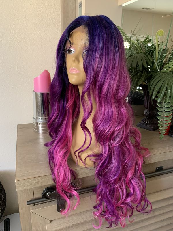PURPLE PINK BLUE BLENDED LONG WAVY THICK CURLY LACE FRONT WIG