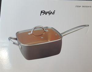 New! Parini 6 Qt. Copper Non Stick Square Pan with Lid for Sale in Moreno Valley, CA