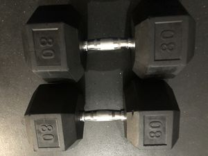 Rubber Hex 80 lb pair dumbbells .. $240 OBO for Sale in San Diego, CA