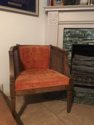 Mid-Century Wood & Cane Barrel Chair for Sale in Denver, CO