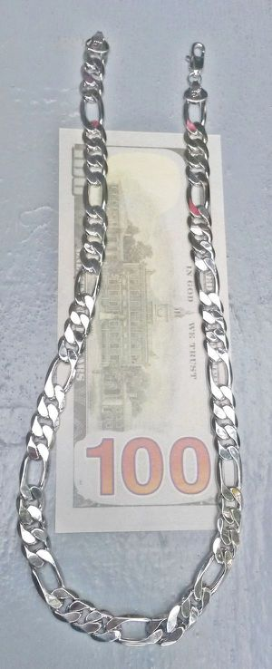 """10mm Stainless Steel Cuban Link Figaro Chain 20"""" Necklace for Sale in Shelton, WA"""