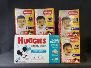 4 packs Huggies size 6 and 704 wipes bundle for Sale in Melvindale, MI