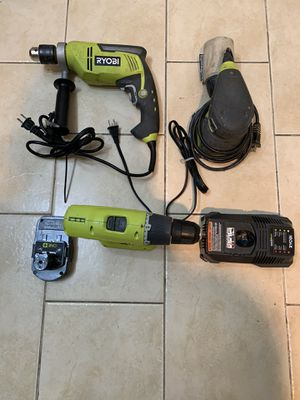 ROYOBI Cordless Drill , Corded hammer Drill, Battery, Charger , and Corded Sander WILLING TO NEGOTIATE ON FAIR PRICE/ No trade / Pickup Only for Sale in Lauderhill, FL