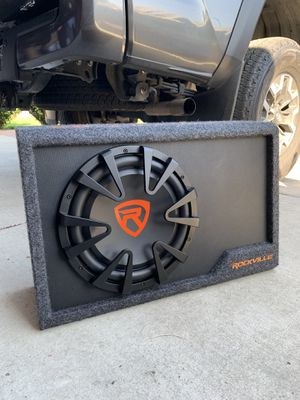 "Rockville Rws12ca Slim 1200 Watt 12"" Amplified Powered Car Subwoofer Enclosure for Sale in Salinas, CA"