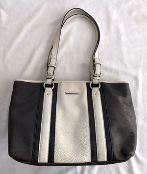 "DANA BUCHMAN LARGE FAUX LEATHER TOTE SHOULDER BAG PURSE DARK BROWN BEIGE 15""x10"" for Sale in Lake Zurich, IL"