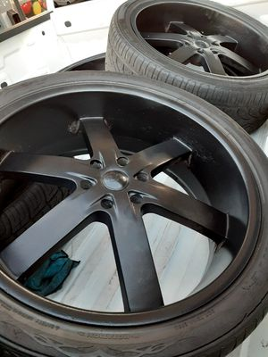 "24"" wheels black 2 used tires good. Fit all 6x139 bolt pattern for Sale in San Diego, CA"