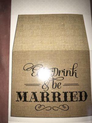 EAT DRINK BE MARRIED Burlap WEDDING Table Runner NEW n BOX! for Sale in Savannah, GA