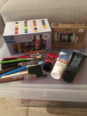 Acrylic paints and accessories for Sale in Falls Church, VA