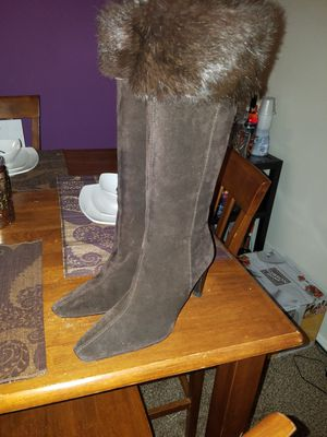 Ladies heels suede boots with mink trimming for Sale in Washington, DC