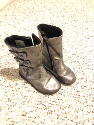 Silver boots girl size 8 for Sale in Leesburg, VA
