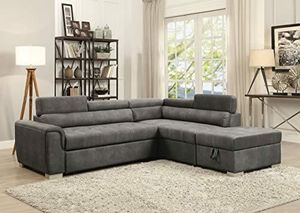 Grey convertible pullout sofa bed couch sectional No Credit Needed No Credit Check Apply Today for Sale in Downey, CA