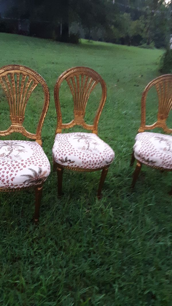 Hollywood Regency gold built chairs antique