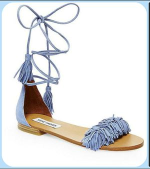 Steve Madden Womens Size 8.5 M Blue Suede Fringe Flat Sandals Ankle Tie-Up for Sale in Miami, FL