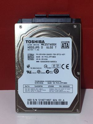 TOSHIBA CORPORATION 5400RPM 250GB SATA MK2576GSX Laptop Hard Drive for Sale in Montclair, NJ