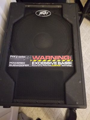 Peavey powered sub and ev powered speakers and stands and Mackie mix and case for Sale in Hamburg, NY