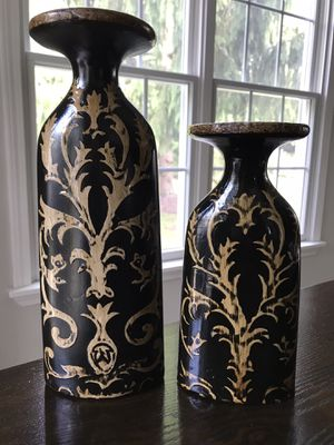 SET OF 2 DECORATIVE CERAMIC PILLAR CANDLE HOLDERS for Sale in North Royalton, OH