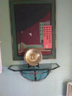 Canvas painting ,Glass Shelf with mount ,hand made Egyptian plate with stand for Sale in Wichita, KS