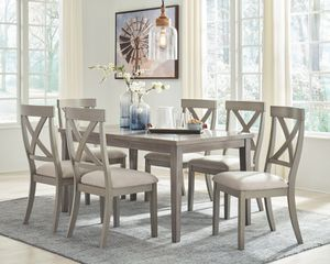 Parellen - Gray - 7 Pc. - RECT DRM Table & 6 UPH Side Chairs for Sale in Naples, FL