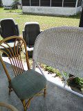 Bamboo antique chair & wicker headboard for Sale in US