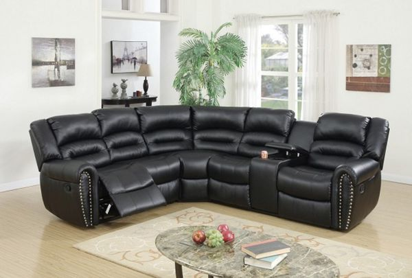 BLACK SECTIONAL RECLINER