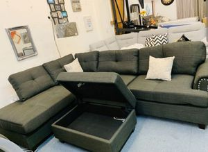 Brand New Ash Black Linen Sectional Sofa Couch +Storage Ottoman for Sale in Wheaton-Glenmont, MD
