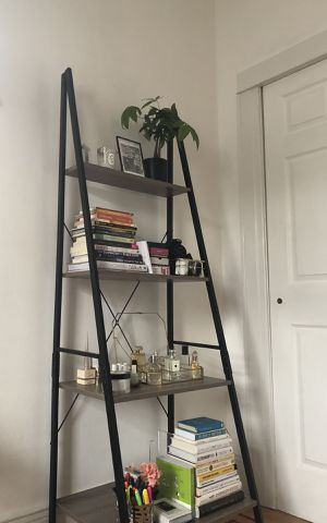 Gray Wood and Black Steel Ladder Shelf for Sale in Queens, NY