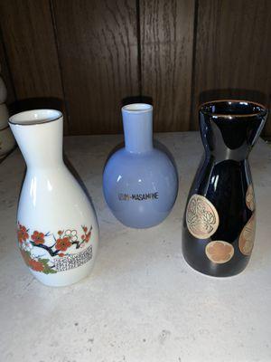 """Lot of 3 Vintage Japanese Porcelain 5"""" Sake Tea Pitchers Bottles Decanters Vases for Sale in Sacramento, CA"""