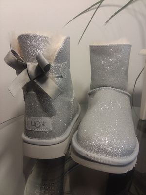 Ugg mini bailey bow sparkle glitter silver boots for Sale in Bensalem, PA