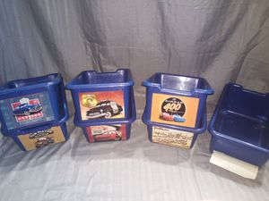 """7 blue bins with """"Cars"""" stickers for Sale in Lawrenceville, GA"""