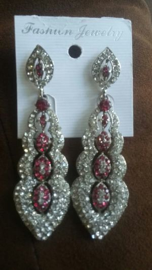 Earrings full silver colour and pink stone for Sale in March Air Reserve Base, CA